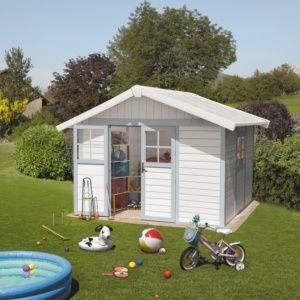 Abri de jardin résine Grosfillex 11.02 m² Ep. 26 mm Deco gris/bleu