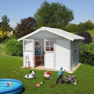 Abri de jardin résine Grosfillex Déco 11.02 m² Ep.26 mm gris/vert + Kit d'ancrage