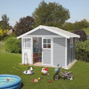 Abri de jardin résine Grosfillex 11.02 m² Ep. 26 mm Deco gris clair  – Plantes et Jardins – Jardinerie en ligne