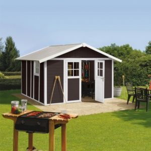 Abri de jardin résine Grosfillex Déco 11.02 m² Ep. 26 mm mocca + Kit d'ancrage