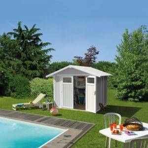 Abri de jardin résine Grosfillex 7.69 m² Ep. 26 mm  Utility gris/vert