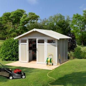 Abri de jardin résine Grosfillex 11.02 m² Ep. 26 mm Utility gris/vert – Plantes et Jardins – Jardinerie en ligne