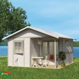Abri de jardin résine Grosfillex Déco 25.88 m² Ep. 26 mm gris/vert + Kit d'ancrage offert