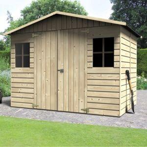 Abri de jardin bois labellisé PEFC, en kit à monter soi-même, panneaux modulaires, sapin du nord naturel Plantes et Jardins – Jardinerie en ligne