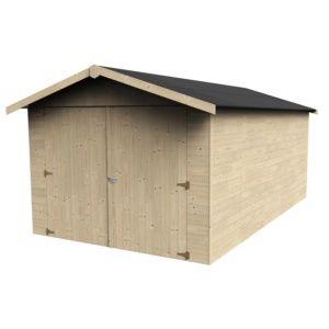 Garage en bois d'épaisseur 15 mm 14,91 m², modèle Garove