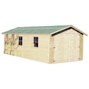 Garage en bois d'épaisseur 15 mm 22,66 m², modèle Gapale. SOLDES