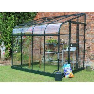Serre adossée Silverline verre trempé 5 m² – Vert – Eden