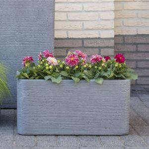 Bac à fleurs fibre de terre striée Clayfibre L100 H45 cm gris