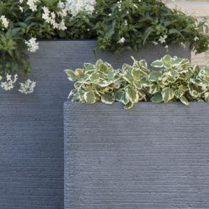 Bac à fleurs fibre de terre striée Clayfibre L80 H92 cm gris