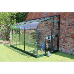 Serre adossée Silverline 7.5 m² verre trempé – vert – Eden