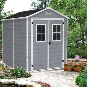 Petit abri de jardin résine propylène, monté sur panneaux, résistant aux UV, grille de ventilation incluse, Plantes et Jardin – Jardinerie en ligne