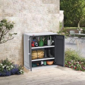 Armoire de jardin résine Keter Optima L80.5 H91 cm anthracite. PLANTES ET JARDIN – Jardinerie en ligne