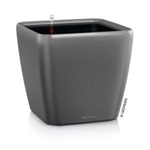 Pot Lechuza Quadro Premium L35 H33 cm gris métallisé
