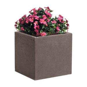Bac à fleurs fibre de terre Clayfibre L44 H38 cm taupe