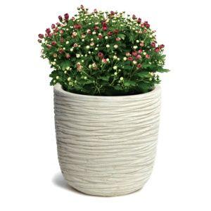 Pot fibre de terre striée Clayfibre Ø55 H62 cm blanc