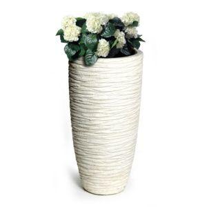 Pot fibre de terre striée Ø34 H66 cm blanc