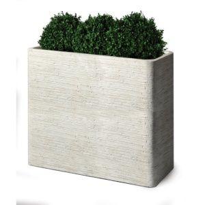 Jardinière rectangulaire fibre de terre, blanche, solide et légère, résistante aux intempéries et aux UV Plantes et Jardins – Jardinerie en ligne