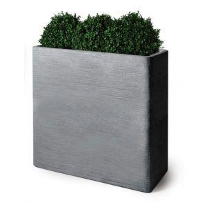 Bac à fleurs fibre de terre striée Clayfibre L60 H72 cm gris