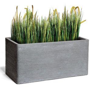 Bac à fleurs fibre de terre striée Clayfibre L80 H40 cm gris