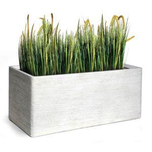 Bac à fleurs fibre de terre striée Clayfibre L80 H40 cm blanc