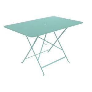 Table de jardin pliante Fermob Bistro l117 L77 cm acier bleu lagune