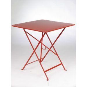 Table pliante Fermob Bistro acier l71 L71 cm coquelicot