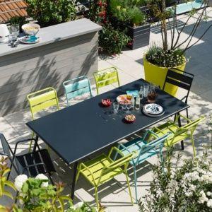 Table de jardin Fermob Monceau acier l194 L94 cm carbone