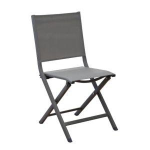 Chaise de jardin pliante Thema en aluminium et textilène café