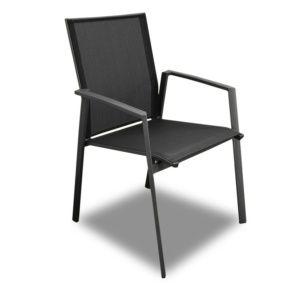 Fauteuil Palma aluminium/textilène noir