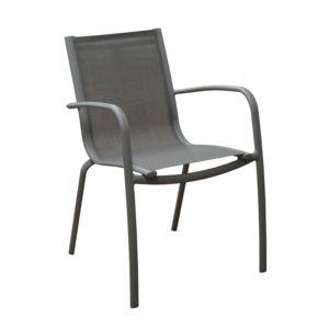 Fauteuil empilable Linea aluminium/textilène taupe