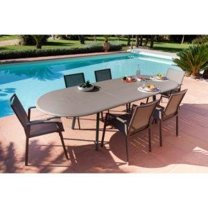 Table de jardin Brasa aluminium l220/280 L110 cm café
