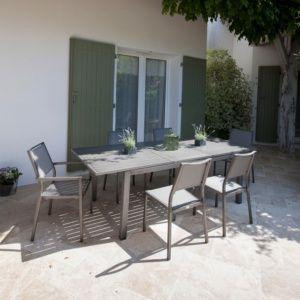 Table de jardin Trieste en aluminium l180/240 L100 cm argent gris