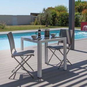 Table plateau en verre L73 H74 cm aluminium sable
