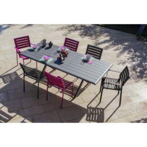 Table de jardin 8 personnes à lattes en aluminium gris