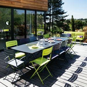 Table à allonge Fermob Slim acier/HPL l185/285 L90 cm muscade