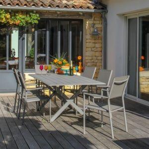Table de jardin Bridge aluminium l220 L100 cm (8 personnes) couleur taupe. PLANTES ET JARDIN – Jardinerie en ligne