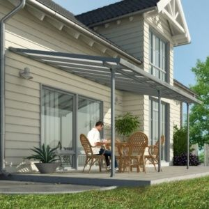 Pergola toit terrasse en aluminium et polycarbonate 5×3 m gris