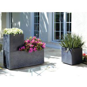Jardinière rectangulaire polypropylène anthracite, imitation pierre, réservoir d'eau intégré Plantes et Jardins – Jardinerie en ligne