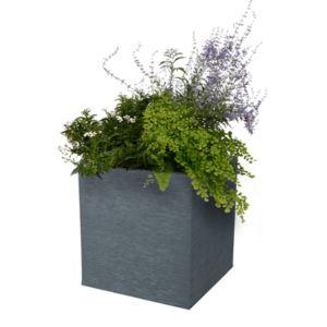 Bac carré Graphit résine  L39 H43 cm anthracite. PLANTES ET JARDIN – Jardinerie en ligne