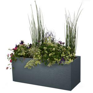 Jardinière Graphit résine imitation pierre L99.5 H43 cm anthracite PLANTES ET JARDIN – Jardinerie en ligne