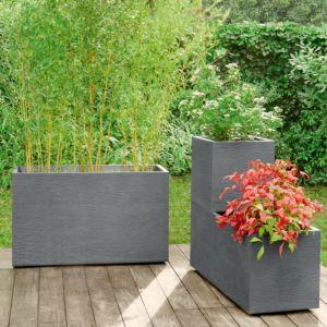 Muret Graphit résine imitation pierre L99.5 H60 cm anthracite PLANTES ET JARDIN – Jardinerie en ligne
