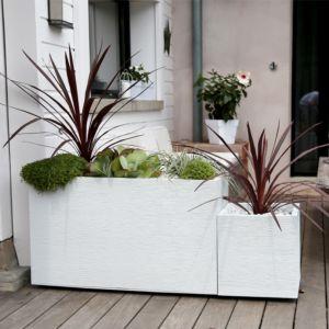 Muret Graphit résine imitation pierre L99.5 H60 cm blanc PLANTES ET JARDIN – Jardinerie en ligne