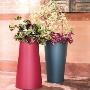 Pot Reverso en résine plastique résistante Ø39 H65 cm griotte, intérieur et extérieur. PLANTES ET JARDIN – Jardinerie en ligne