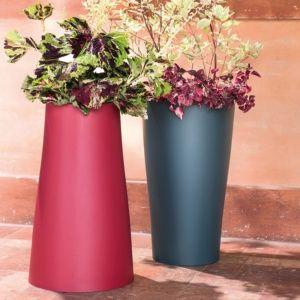 Pot Reverso en résine plastique résistante Ø39 H65 cm ardoise, intérieur et extérieur. PLANTES ET JARDIN – Jardinerie en ligne
