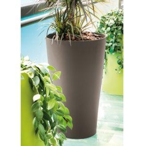 Pot Reverso en résine plastique résistante Ø39 H65 cm taupe, intérieur et extérieur. PLANTES ET JARDIN – Jardinerie en ligne