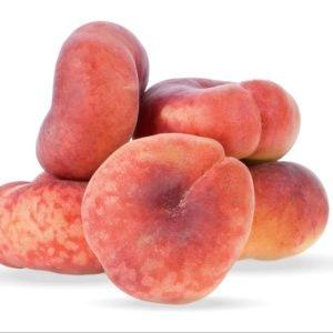 Pêcher de balcon 'Peach Me Donut' à fruit plats- Pot de 2 litres – PLANTES ET JARDINS