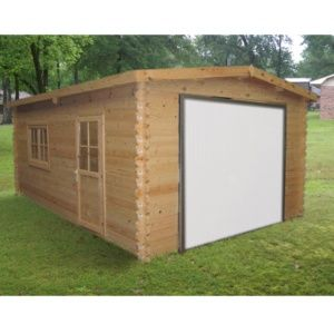 Garage en bois Murava 26,79 m² Ep. 34 mm porte basculante