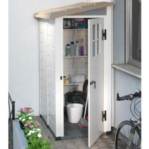 Petit abri de jardin en résine PVC adossable 1 m² Ep. 22 mm Evo 100 Garofalo – Plantes et Jardins – Jardinerie en ligne