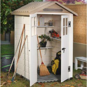 Petit abri de jardin en résine PVC 1,49 m² Ep. 22 mm Evo 120 Garofalo – Plantes et Jardins – Jardinerie en ligne