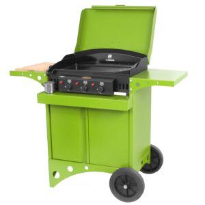 Plancha à gaz Le Marquier Kitchen 3 brûleurs vert